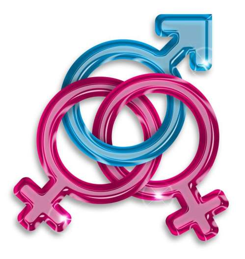 symbol of a love triangle between two women and a man