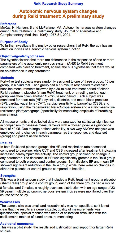 Autonomic Nervous System Changes During Reiki Treatment
