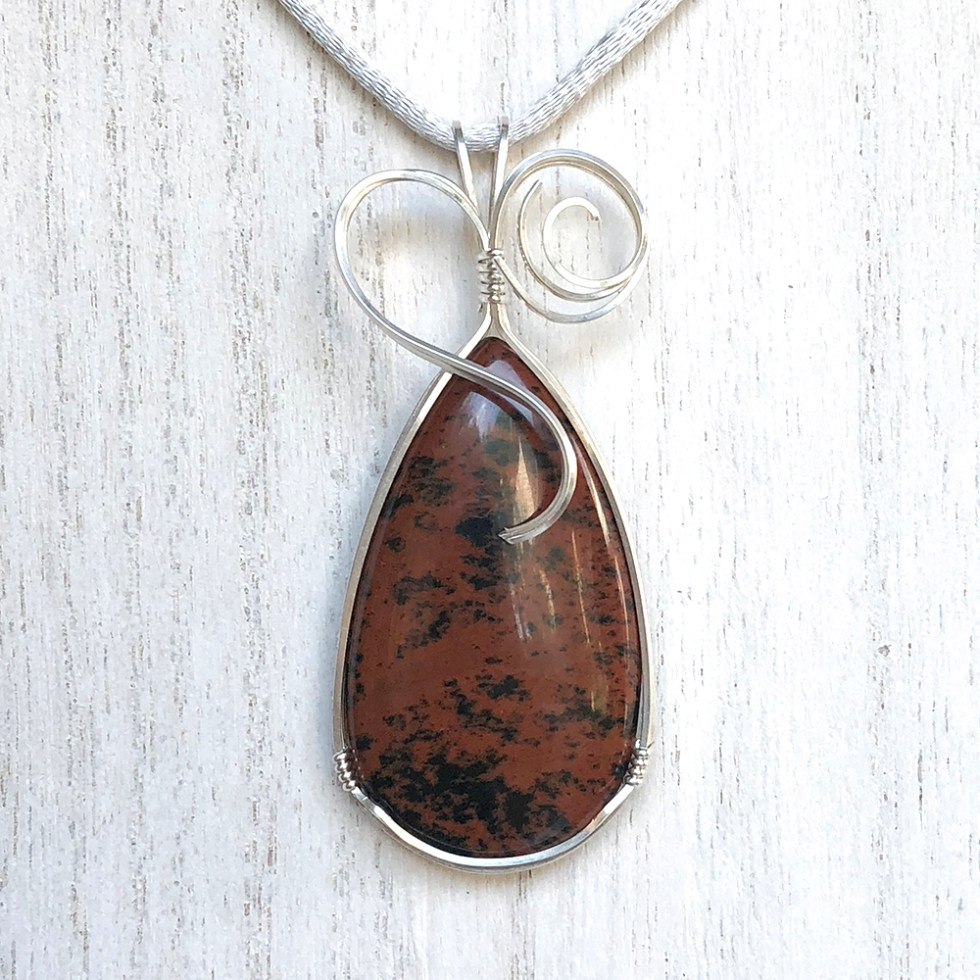 reiki charged mahogany obsidian pendant