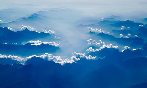 clouds mountains blue