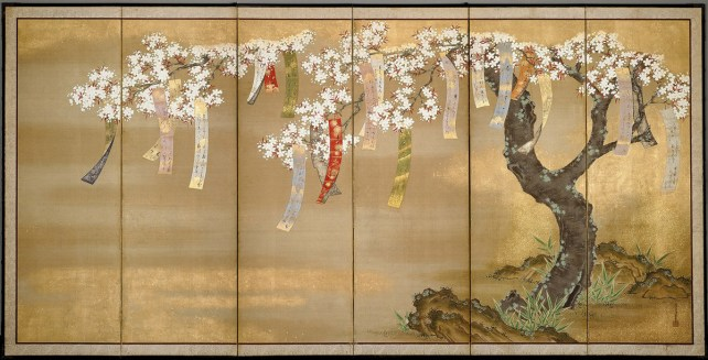 Flowering Autumn Maple with Poem Slips by Tosa Mitsuoki (c. 1617-1691) six-panel screen in ink, color, gold, and silver on silk