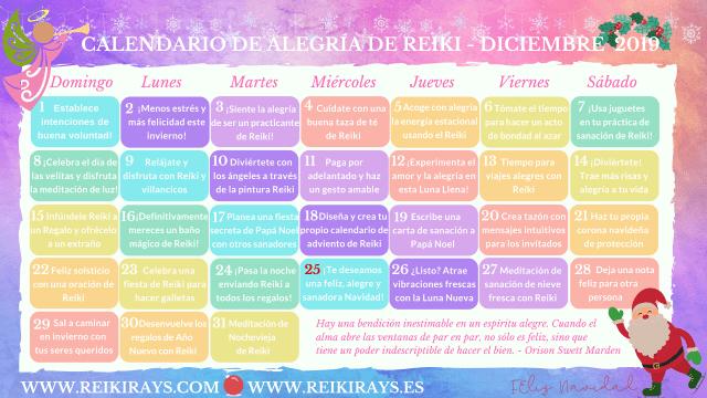 Calendario de Alegría de Reiki Diciembre 2019