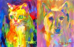 """""""Cattitude"""" and """"Puma"""" portraits by artist Robert Blehert"""