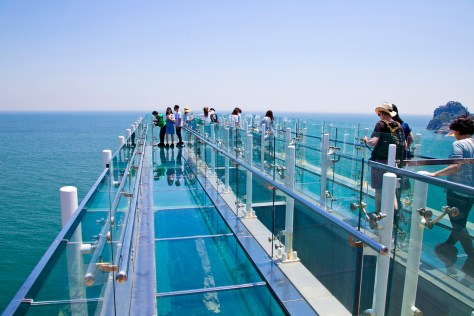 Oryukdo skywalk in Busan city, South Korea