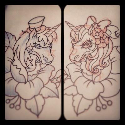 #unicorn #rose #tattoo #design #ユニコーン #バラ #タトゥー #タトゥーデザイン