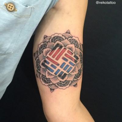 #mandala #Korean #TheNationalFlag #tattoo #曼荼羅 #韓国 #国旗 #タトゥー #reikotattoo #studiokeen #名古屋 #大須 #矢場町