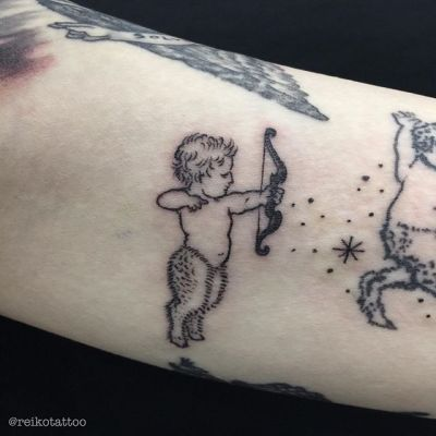 #Pan #Bow #Arrow #tattoo #パン #獣人 #弓 #矢 #タトゥー #reikotattoo #studiokeen #名古屋 #矢場町 #大須 reikotakagi@mac.com