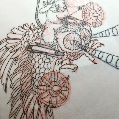 #フクロウ #戦闘機 #ネズミ #スケッチ #タトゥー #owl #fighter #rat #japan #nagoyatattoo #tokyo #東京 #静岡 #名古屋 #大須 #矢場町 #reikotattoo #studiokeen reikotattoo.com