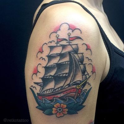 #帆船 #タトゥー #sailboat #tattoo #reikotattoo #studiokeen #japan #nagoyatattoo #tokyotattoo #名古屋 #大須 #矢場町 #東京 #静岡 #hocuspocustattoo #shizuokatattoo