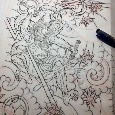 #雷神 #下絵 #raijin #drawing...#tattoo #reikotattoo #studiokeen #japan #nagoyatattoo #tokyotattoo #irezumi #タトゥー #刺青 #名古屋 #大須 #矢場町 #東京