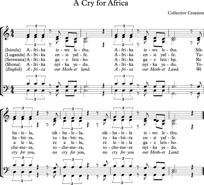 """Music Sheet """"A Cry for Africa"""""""