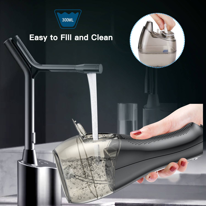 H2O Water Floss خيط الأسنان المائي 5 سرعات 8 فوهات خزان 300 ملي لون اسود