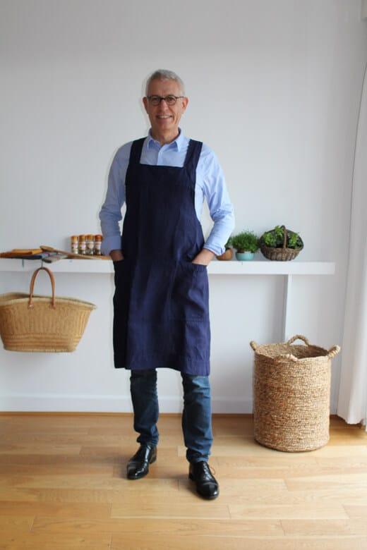 tablier japonais leopold homme coton lin recycle marine