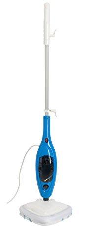 MEDION MD 15857 Dampfreiniger, Dampfbesen, Mob, Hand-Reiniger, 1300 Watt, Wassertank 300 ml, schwenkbarer Dampfkopf, großes Zubehör-Set, weiß -