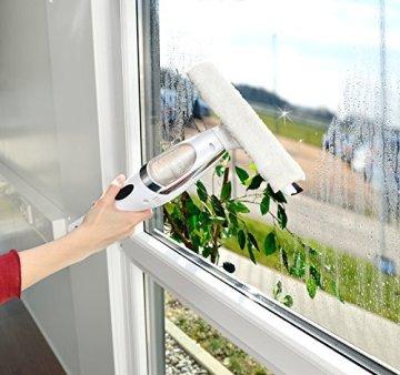Sichler Haushaltsgeräte Akku Fenstersauger Set mit Teleskopstab bis 119 cm, Zubehör -
