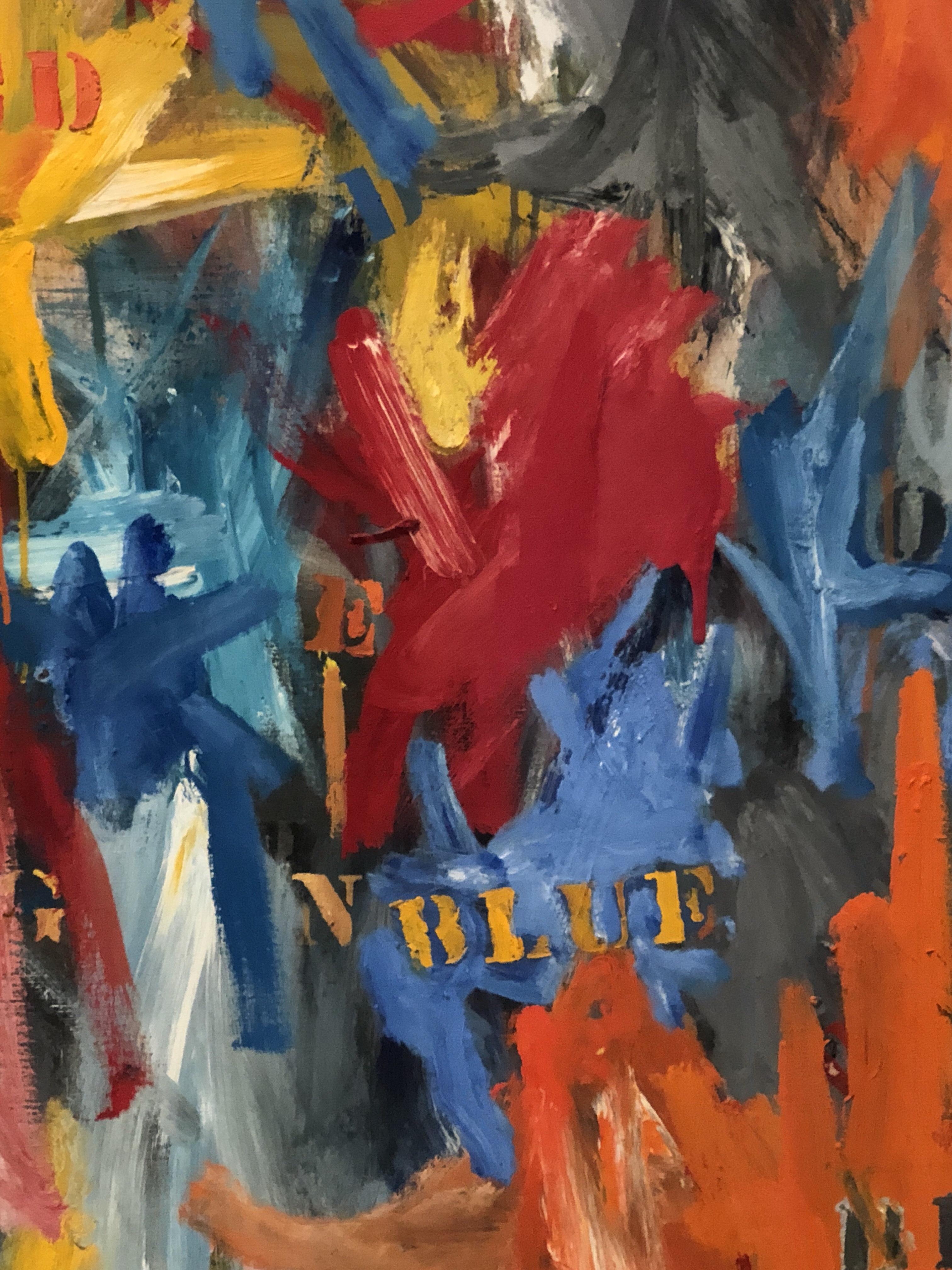Detail from Jasper Johns, False Start, 1959, The Broad, Los Angeles