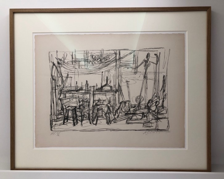 Graphite drawing of his Atelier by Giacometti, Fondation Giacometti