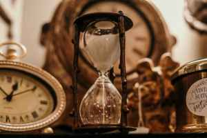 Hourglass showing time quickly passing