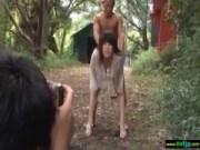 撮影中に即ハメされるむっちり系美巨乳ギャルの無料レイプ動画