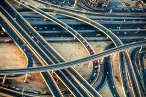 Luftaufnahme Autobahnkreuz in Dubai