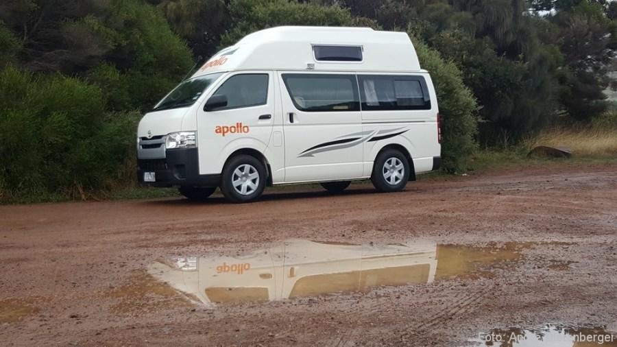Camper im Regen