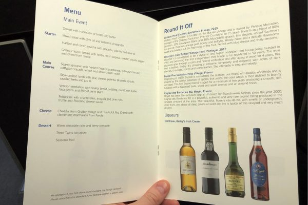 SAS Business class menu