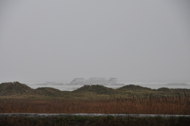Deich in Sankt Peter Ording bei Nebel