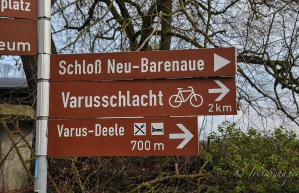 Varusschlacht Schild mit Fahrrad