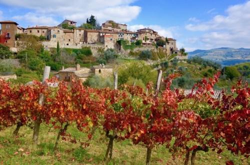 Utsikt til Middelalderbyen Montefioralle i Chianti Toscana
