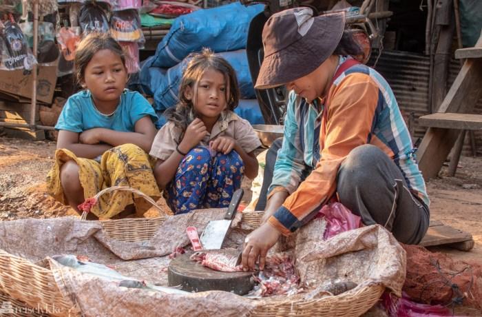 Fiskesalg Kambodsja landsbygd
