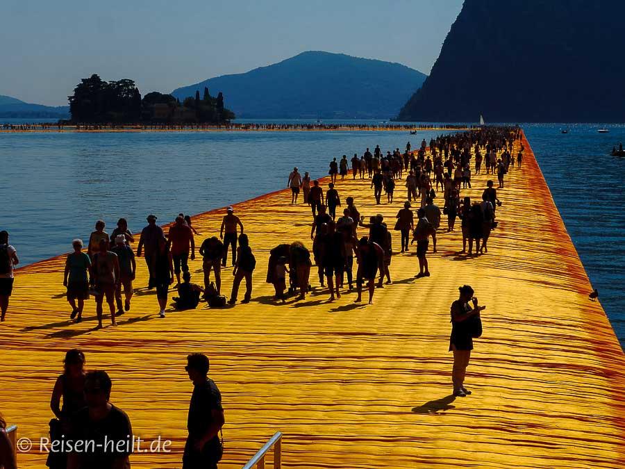 Kontrastreiches Farbenspiel: schwimmende Stege mit goldenem Vlies und tiefblaues Wasser