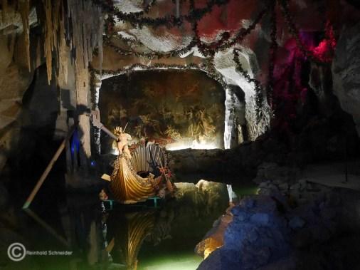 Die Venusgrotte mit dem vergoldeten Muschelkahn wird bis 2022 restauriert.