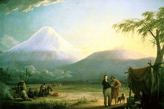 Alexander von Humboldt und Aimé Bonpland am Fuß des Chimborazo. Gemälde von Friedrich Georg Weitsch (1758-1828).