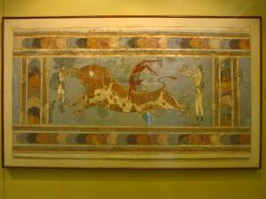 Der Stierspringer als Fresko aus Knossos