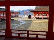 Itsukushima shrine on the island Miyajima, one of the most important ones in Japan and reached by boat only in former times. Seen from the temple Daigan-ji.