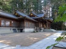 Takayama temple with worshipper.