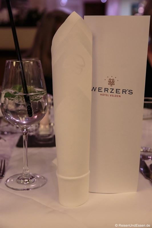 Serviette und Speisekarte im Werzer's Velden