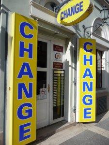 Geld wechseln in der Wechselstube
