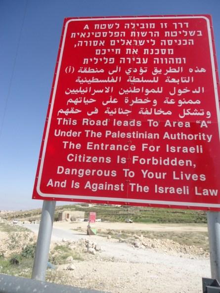 Waarschuwingsbord Palestina