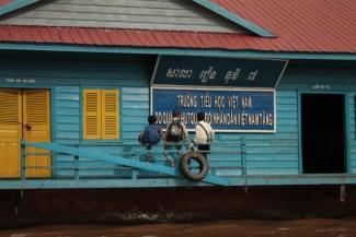Drijvende school, Tonle Sap, Cambodja