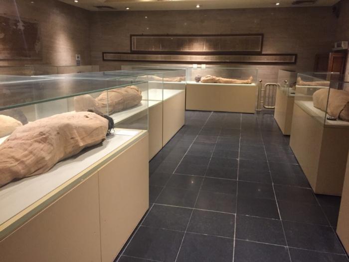 De mummiezaal in het Egyptisch museum