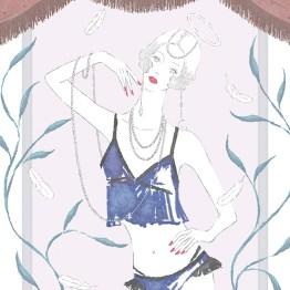 天使 ブラレット インナーウエア ブラジャー 占い 占星術 イラスト 女性 ファッション 広告 web  美容  イラストレーター イラストレーション おしゃれ mook本 女性誌 女性向けWEBメディア horoscope astrology illustration fashionillustration woman illustrator angel