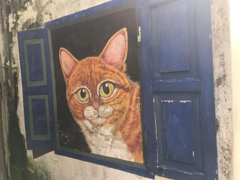 Street art George Town Malaysia cat window