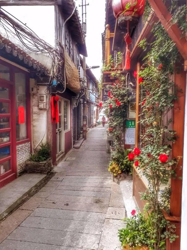 Zhujiajiao China flowers small streets