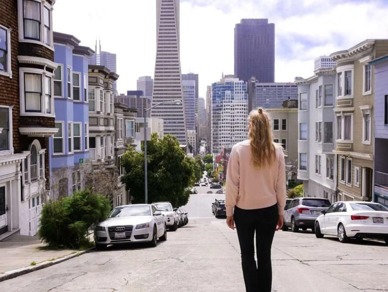 Walking streets of San Francisco viewpoint
