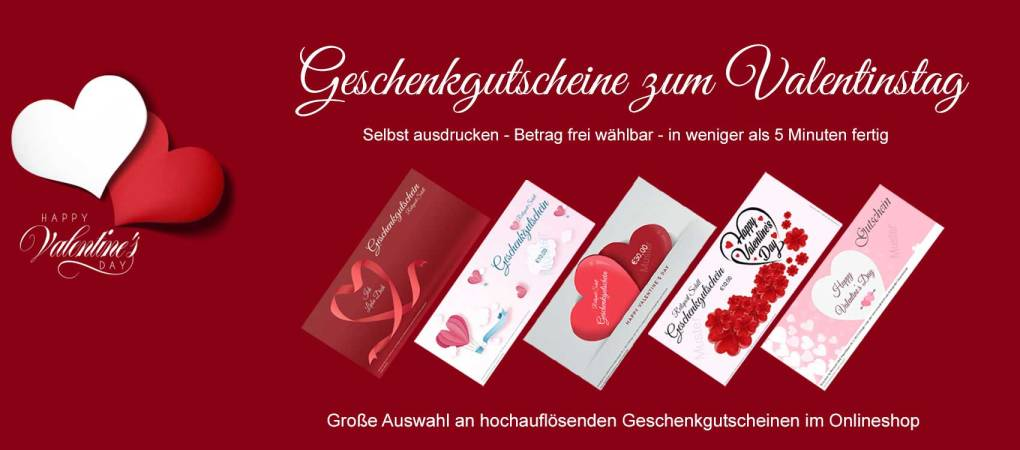 Geschenkgutschein zum Valentinstag von Zuhause aus