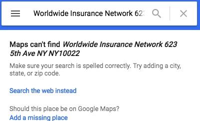 Wing Insurance Google Map