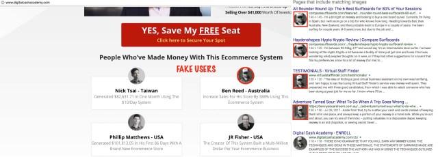 Digital Cash Academy Fake Testimonials