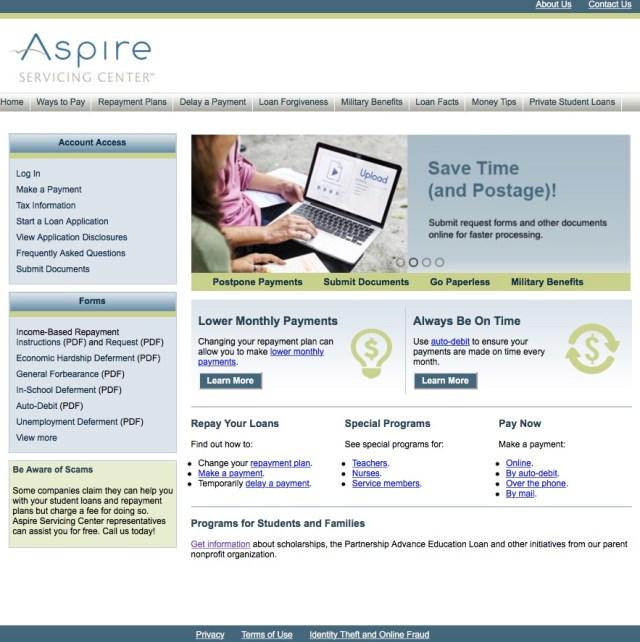 aspireservicingcenter.com - Aspire Student Loan