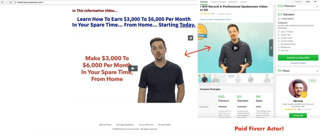 thehomeincomesite2.com - Spokesperson is a paid actor from Fiverr